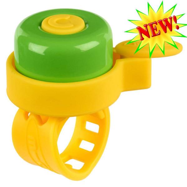 Звонок Micro multicolor yellow-green  для самокатов и беговелов