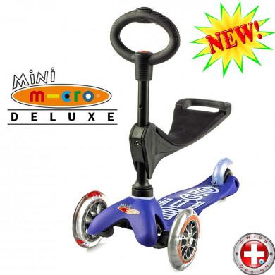 Mini Micro Deluxe 3in1 blue (Мини Микро Делюкс 3в1 синий) трехколесный самокат с сиденьем
