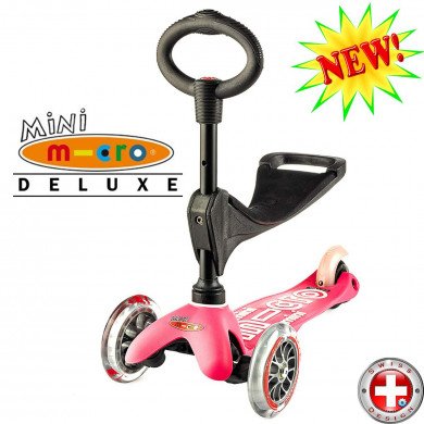 Mini Micro Deluxe 3in1 pink (Мини Микро Делюкс 3в1 розовый) трехколесный самокат с сиденьем