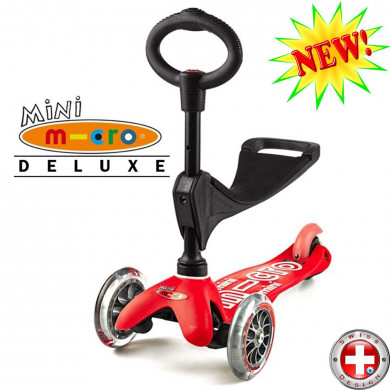 Mini Micro Deluxe 3in1 red (Мини Микро 3в1 Делюкс красный) трехколесный самокат с сиденьем