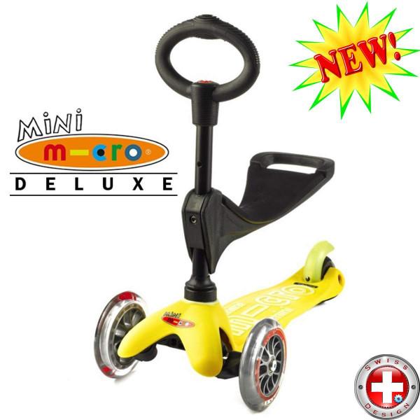 Mini Micro Deluxe 3in1 yellow (Мини Микро Делюкс 3в1 желтый) трехколесный самокат с сиденьем