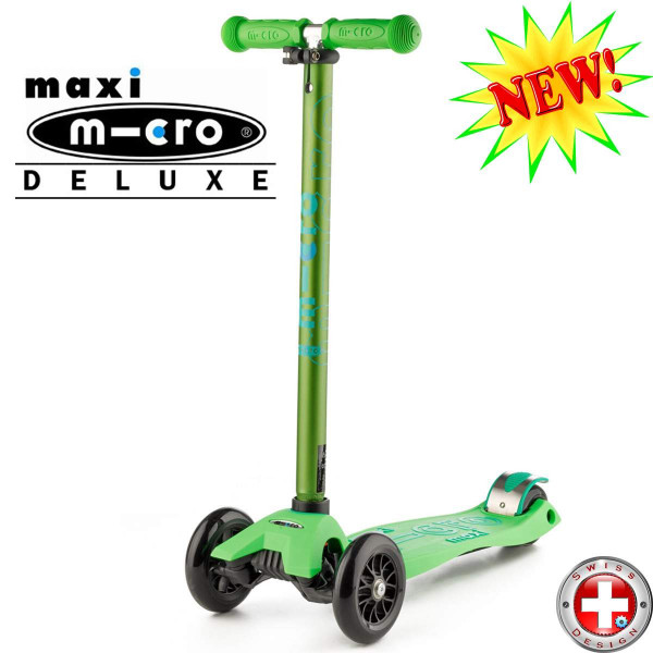 Maxi Micro Deluxe green (Макси Микро Делюкс зеленый) трехколесный самокат
