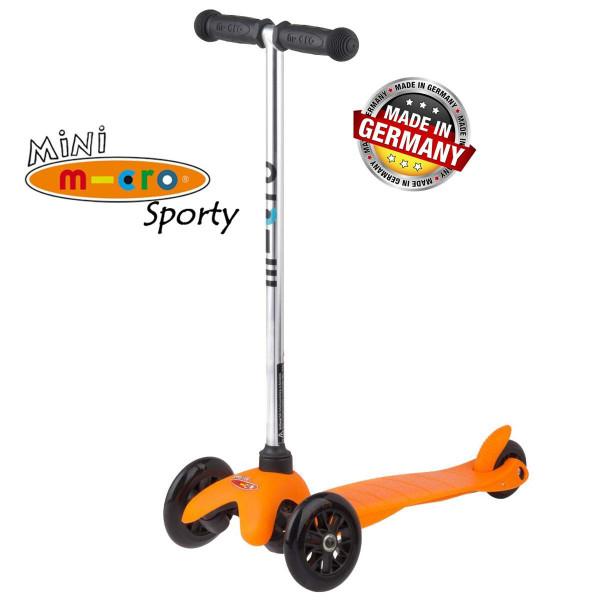 Mini Micro Sporty orange black wheels (Мини Микро Спорти оранжевый c черными колесами) трехколесный самокат