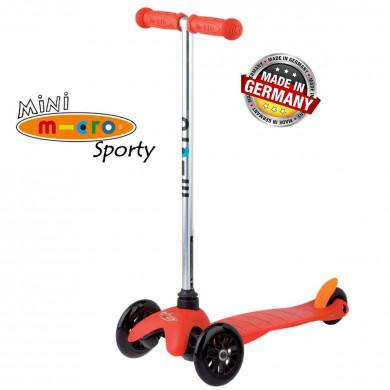 Mini Micro Sporty red black wheels (Мини Микро Спорти красный c черными колесами) трехколесный самокат