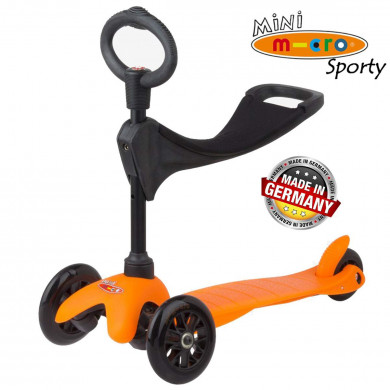Mini Micro 3 in 1 Sporty orange black wheels (Мини Микро 3в1 Спорти оранжевый) трехколесный самокат с сиденьем