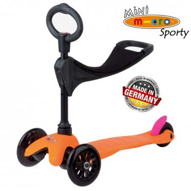 Mini Micro 3in1 Sporty Neon orange black wheels (Мини Микро 3в1 Спорти Неон оранжевый) трехколесный самокат с сиденьем