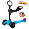 Mini Micro 3in1 Sporty Neon blue black wheels  (Мини Микро 3в1 Спорти Неон синий) трехколесный самокат с сиденьем
