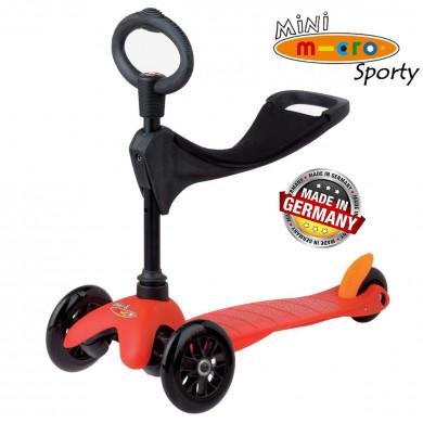 Mini Micro 3 in 1 Sporty red black wheels (Мини Микро 3в1 Спорти красный) трехколесный самокат с сиденьем