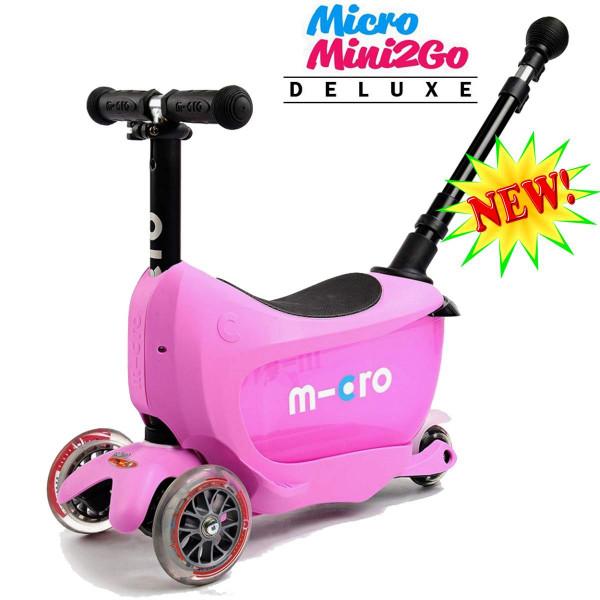 Micro Mini2Go Deluxe Plus pink (Микро Мини Два Гоу Делюкс Плюс розовый) трехколесный самокат с сиденьем