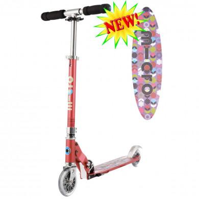 Micro scooter Sprite raspberry Floral  (Микро скутер Спрайт малиновый Цветок) самокат