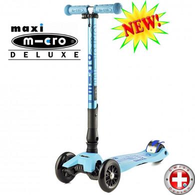 Maxi Micro Deluxe складной light blue (Макси Микро Делюкс складной синий) трехколесный самокат