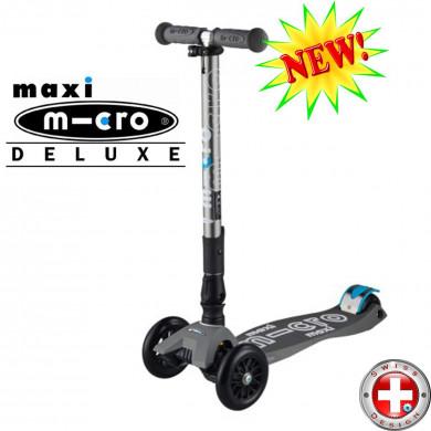 Maxi Micro Deluxe складной grey  (Макси Микро Делюкс складной серый) трехколесный самокат