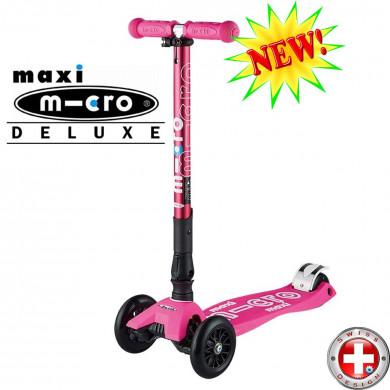 Maxi Micro Deluxe складной shocking pink трехколесный самокат