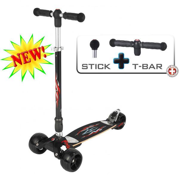 Micro Kickboard Monster T-bar + Joystick black (Микро Кикборд Монстр Т-бар + Джойстик черный)  трехколесный самокат