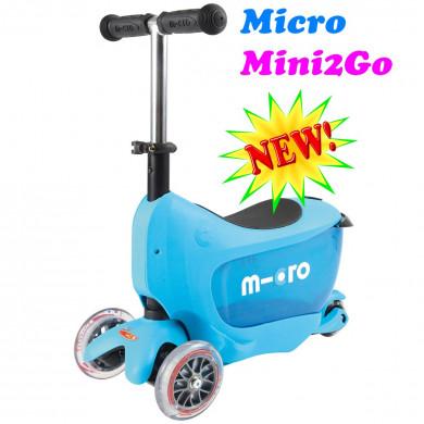 Micro Mini2Go light blue + поводок Micro в подарок (Микро Мини Два Гоу голубой) трехколесный самокат  с сиденьем