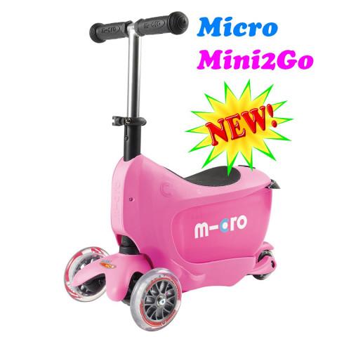 Micro Mini2Go pink (Микро Мини Два Гоу розовый) трехколесный самокат  с сиденьем