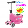 Micro Mini2Go pink + поводок Micro в подарок (Микро Мини Два Гоу розовый) трехколесный самокат  с сиденьем