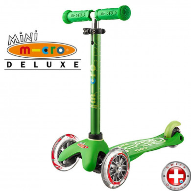 Детский трехколесный самокат Mini Micro Deluxe green (зеленый) для малышей от 1,5 до 5 лет