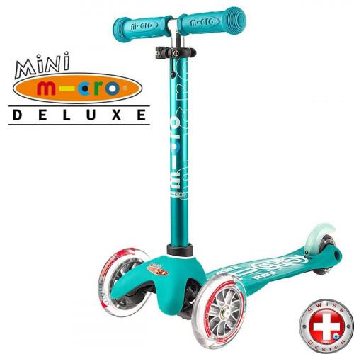 Детский трехколесный самокат Mini Micro Deluxe  aqua (аква) для малышей от 1,5 до 5 лет