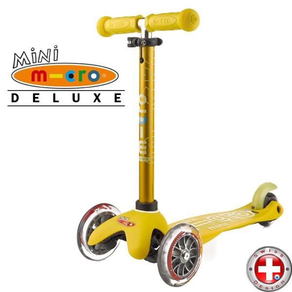 Детский трехколесный самокат Mini Micro Deluxe yellow (желтый) для малышей от 1,5 до 5 лет