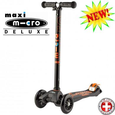 Maxi Micro Deluxe black-orange (Макси Микро Делюкс черно-оранжевый) трехколесный самокат