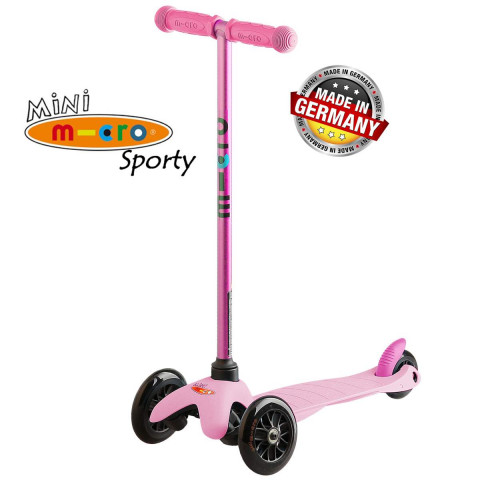Трехколесный самокат Mini Micro Sporty Candy pink (Кэнди розовый) для детей от 2 до 5 лет