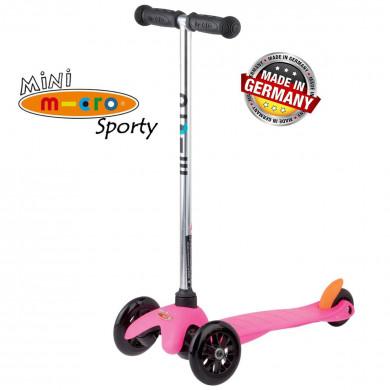 Mini Micro Sporty pink black wheels (Мини Микро Спорти розовый c черными колесами) трехколесный самокат