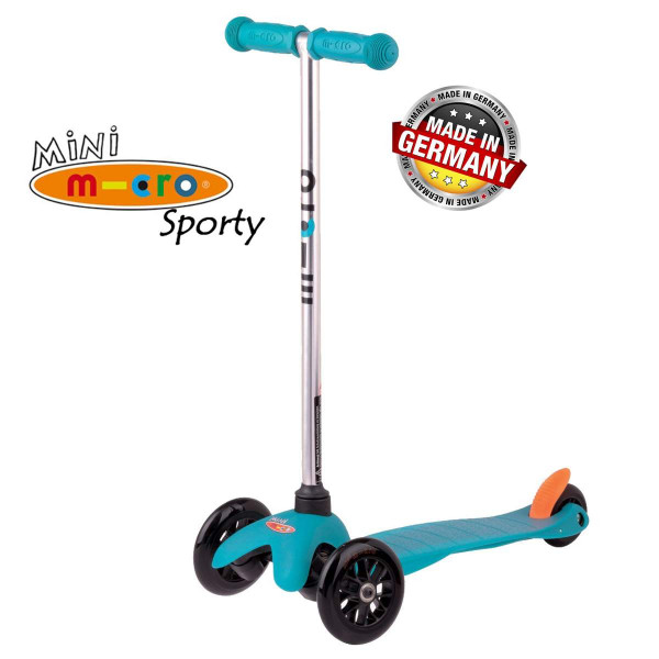 Mini Micro Sporty aqua black wheels (Мини Микро Спорти аква c черными колесами) трехколесный самокат