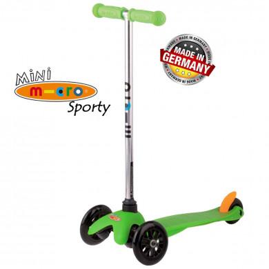 Mini Micro Sporty green black wheels (Мини Микро Спорти зеленый c черными колесами) трехколесный самокат