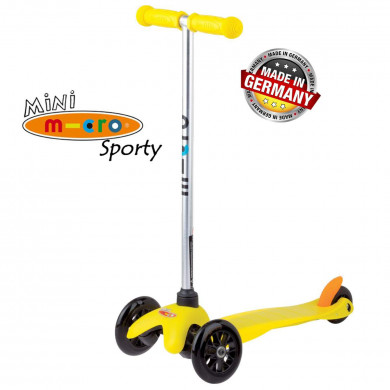 Mini Micro Sporty yellow black wheels (Мини Микро Спорти желтый c черными колесами) трехколесный самокат