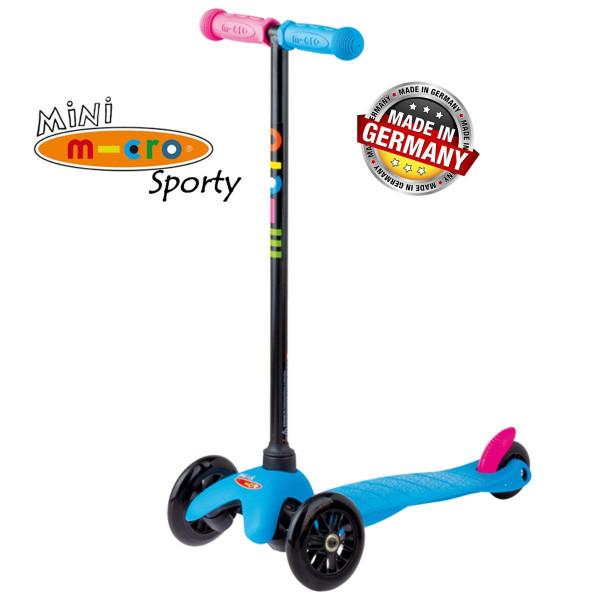Mini Micro Sporty Neon blue black wheels (Мини Микро Спорти Неон синий c черными колесами) трехколесный самокат