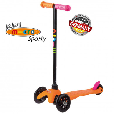 Mini Micro Sporty Neon orange black wheels (Мини Микро Спорти Неон оранжевый с черными колесами) трехколесный самокат