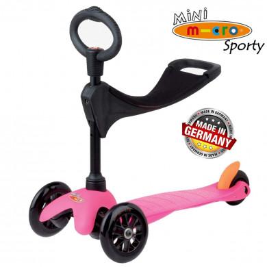 Mini Micro 3 in 1 Sporty pink black wheels (Мини Микро 3в1 Спорти розовый)  трехколесный самокат с сиденьем