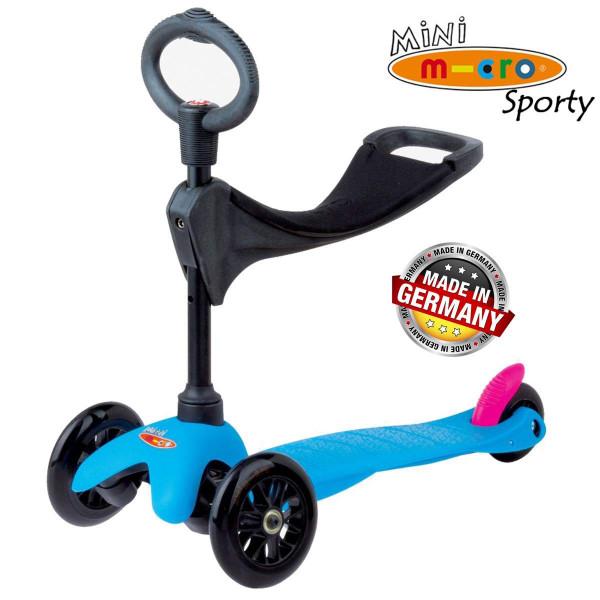 Трехколесный самокат с сиденьем Micro Mini Sporty 3in1 Neon blue (синий)  для малышей от 1 года до 5 лет