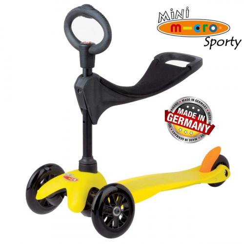 Трехколесный самокат с сиденьем Micro Mini Sporty 3in1 yellow (желтый) для малышей от 1 года до 5 лет