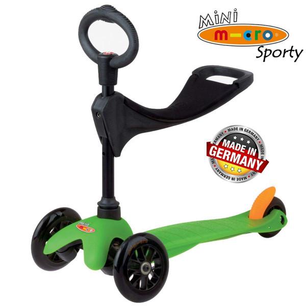 Mini Micro 3in1 Sporty green black wheels (Мини Микро 3в1 Спорти зеленый) трехколесный самокат с сиденьем