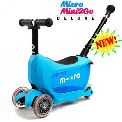 Micro Mini2Go Deluxe Plus blue (Микро Мини Два Гоу Делюкс Плюс синий) трехколесный самокат с сиденьем