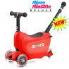 Micro Mini2Go Deluxe Plus red (Микро Мини Два Гоу Делюкс Плюс красный) трехколесный самокат с сиденьем
