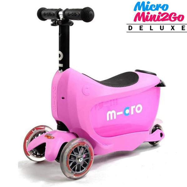Micro Mini2Go Deluxe pink (Микро Мини Два Гоу Делюкс розовый) трехколесный самокат с сиденьем