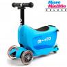 Micro Mini2Go Deluxe blue (Микро Мини Два Гоу Делюкс синий) трехколесный самокат с сиденьем