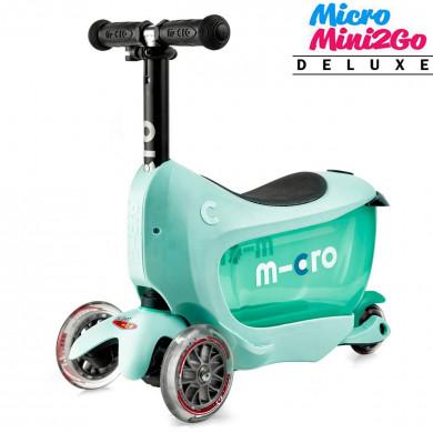 Micro Mini2Go Deluxe mint (Микро Мини Два Гоу Делюкс ментоловый) трехколесный самокат с сиденьем