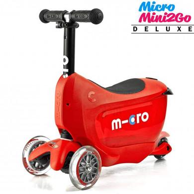 Micro Mini2Go Deluxe red (Микро Мини Два Гоу Делюкс  красный) трехколесный самокат с сиденьем