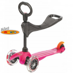 Трехколесный самокат с сиденьем Mini Micro 3in1 pink для малышей от 1 года до 5 лет