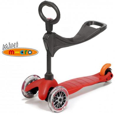 Mini Micro 3 in 1 red (Мини Микро 3в1 красный) трехколесный самокат с сиденьем