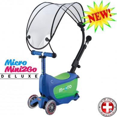 Micro Mini2Go Deluxe с навесом cristal blue (Мини Мини Два Гоу Делюкс Плюс синий) трехколесный самокат с сиденьем