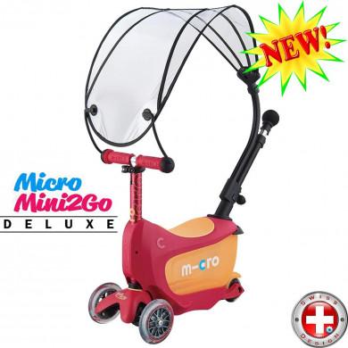 Micro Mini2Go Deluxe с навесом ruby red (Микро Мини Два Гоу Делюкс рубиново-красный ) трехколесный самокат с сиденьем