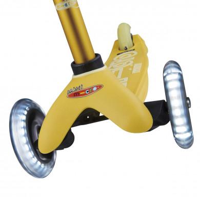 Трехколесный самокат Mini Micro Deluxe Led yellow (желтый) со светящимися колесами