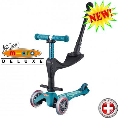 Mini Micro Deluxe 3in1 Plus ice blue (Мини Микро Делюкс 3в1 синий лед) трехколесный самокат с сиденьем и родительской ручкой