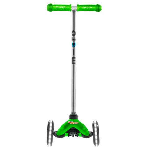Трехколесный самокат Mini Micro LED green со светящимися колесами