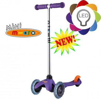 Mini Micro Led purple (Mини Микро Лед сиреневый) трехколесный самокат  со светящимися колесами